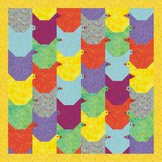 Tessellating Chicken paper pieced quilt pattern by RightPatterns
