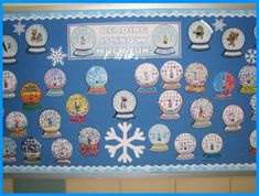 Snowglobes- student pic. inside, dots of glue with white glitter sprinkled over