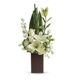 Teleflora's Peace And Harmony Bouquet - TEV21-2A ($65.66) - Send zen. Pure white blooms and fresh tropical greens combine to stunning effect in this stylish arrangement. Presented in a contemporary bamboo vase they'll enjoy for years to come.