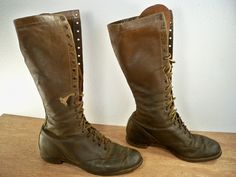 Vintage 1930s Depression Era Brown Leather Sport Hunting Work Leather TALL Knee High 19 Eyelet Men's Lace Up Boots Size 7. $750.00, via Etsy.
