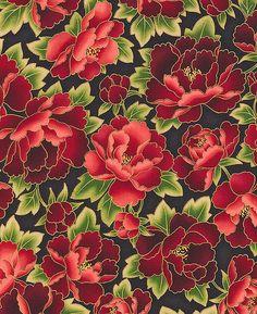 Gorgeous Peonies: Crimson/Gold Metallic Asian Japanese Fabric (Per Yd) Textile Patterns, Textile Design, Flower Patterns, Textiles, Japanese Patterns, Japanese Fabric, Japanese Flowers, Molduras Vintage, Asian Fabric