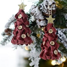 Red Burlap Button Tree Ornaments, Set of 2