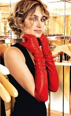 Red Lambskin Leather Opera Length Gloves 23 inches Long   eBay