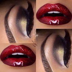 Red lips and gold & black smokey eye @makeupbyglamureyesz