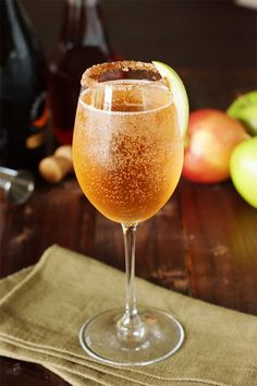 10 More Of The Very Best Winter Cocktails. Sparkling Apple Pie Cocktail from The Kitchen Is My Playground. Winter Cocktails, Thanksgiving Cocktails, Fall Drinks, Holiday Drinks, Cocktail Drinks, Cocktail Recipes, Holiday Recipes, Drink Recipes, Fall Wedding Cocktails
