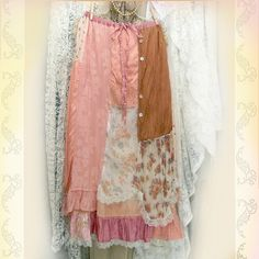 Layered Maxi Skirt Patchwork And Ruffles Shabby Pink Boho Prairie Chic by Resurrection Rags