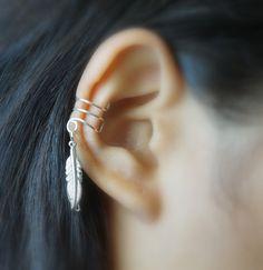 12)Double Little Bird Silver Feather Ear Cuff 4a53cd20b0500