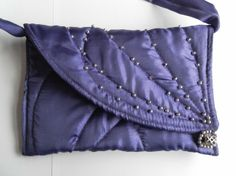 Shoulder Bag, Beaded and Quilted, Purple Habutae, Evening, Wedding, Prom £17.00
