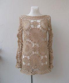 ażurowa,ręcznie robiona tunika,szydełkiem zrobiona,