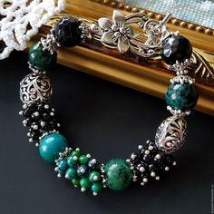Купить Браслет из натуральных камней. Браслет с хризоколой - браслет, Браслет ручной работы, браслет из камней