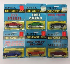 Lot of 6 1970's ERTLE Dicecast Replica 50's Muscle Cars NOS Unopened on Card  | eBay
