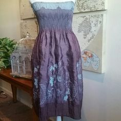 Boho Chic sundress Beautiful sundress with embroidered detail on skirt.  Elastic top. Lapis Dresses Midi