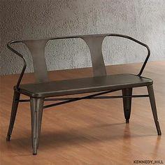 cooool : Vintage Metal Bench Furniture Patio Deck Seating Industrial Antique Steel Modern | eBay