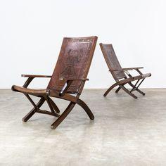 Angel Pazmino folding chair + suitcase for Muebles de Estilo, 1960s