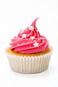 pink cupcake with white stars