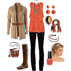 coral and brown, created by kristen-344.polyvore.com