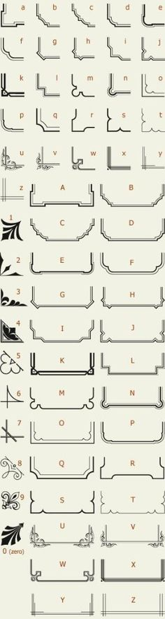 Letterhead Fonts / LHF Corner Specimens / Scrolls and Borders by CSquared Designs