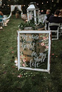 Boho Farm Ceremony Sign Cute rustic wedding ceremony sign for this boho farm wedding. Wedding Ceremony Signs, Wedding Signage, Outdoor Wedding Signs, Rustic Wedding Photos, Rustic Signs For Wedding, Signs For Weddings, Vintage Outdoor Weddings, Wedding Aisles, Pallet Wedding