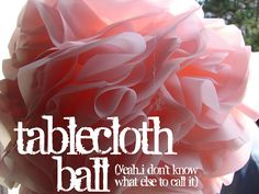 tablecloth-ball-- rain resistant version of tissue paper pom poms for an outdoor wedding