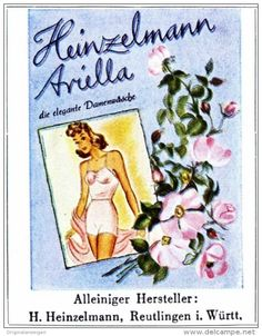 Original-Werbung/ Anzeige 1942 - VIERFARBANZEIGE : HEINZELMANN ARIELLA DAMENWÄSCHE - ca. 45 x 65 mm