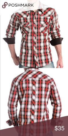 ✨NWT✨ Panhandle Slim Red & Black Snap The Black & Red Plaid Snap features subtle white saddle-stitching on the collar and pocket flaps while having contrast material inside the collarband and under the cuffs.  Panhandle Slim prides itself on creating fresh styles for the ever changing fashion trends. Fit and Care Guide  100% Cotton Fits true to men's sizing Machine wash cold, gentle cycle; Tumble dry low. Panhandle Slim Shirts Casual Button Down Shirts