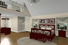 Master Bedroom Suite w/ Library Loft in Maryland | Design Build Pros
