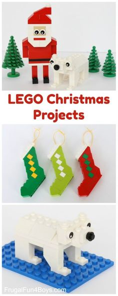 How to Build a LEGO Santa and Stocking Ornaments-excellent way to occupy them for awhile sifting through ALL their legos!