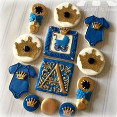 Little Prince themed Baby Shower cookies :) Royalty Baby Shower, Royal Baby Shower Theme, Baby Shower Themes, Baby Boy Shower, Baby Shower Decorations, Shower Ideas, Prince Birthday, Prince Party, 1st Boy Birthday