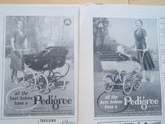 2 Pedigree Prams old vintage retro baby carraige adverts 1951 | eBay