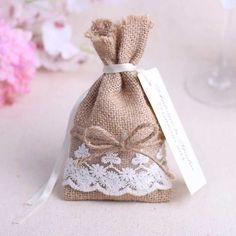 Imitación Continental de Yute/Arpillera con cordón bolsa de regalo bomboniere boda sacos de almacenamiento/decoración de la boda bolsa de la joyería