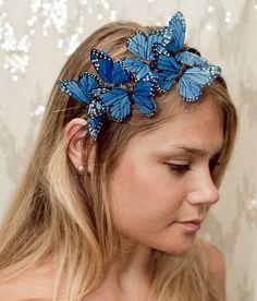 Farfalla blu fascia boschiva di neesiedesigns su Etsy
