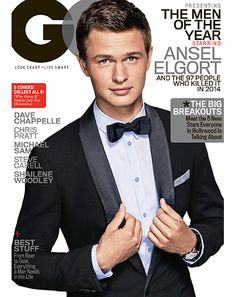 Ansel Elgort wearing an #EmporioArmani tuxedo, shirt and bow tie on the December cover of GQ US