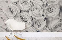 LOVE this black and white rose wallpaper wall mural!! Want it someone in the condo if Klay's okay with it ;)