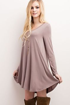 """Nelly"" V-Neck Long Sleeve Dress - Mocha - ShopLuckyDuck  - 1"