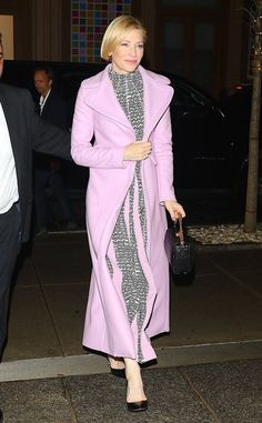 Lovely in lavender! The actress is spotted attending the Tribeca Film Festival in Manhattan.