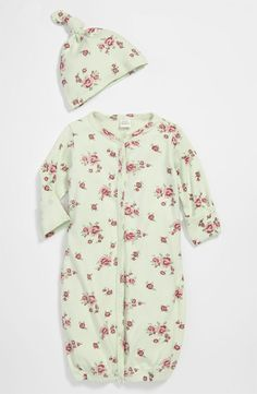 Nordstrom Baby Convertible Gown & Hat in Green/Roses