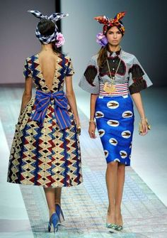 Models wear creations for Stella Jean's women's Spring-Summer 2014 collection, part of the Milan Fashion Week, unveiled in Milan, Italy, Sat...