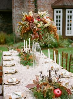Fall Foliage Centerpieces | Archetype Studio | Autumn Woodland Wedding at a Country Manor