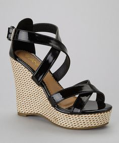 Take a look at this Black Mix-2 Wedge Sandal by Anna Shoes on #zulily today!