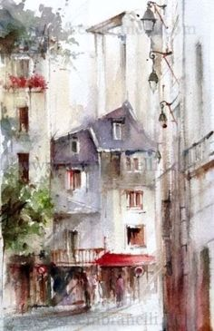Marais, Paris., painting by artist Fabio Cembranelli- Brazilian painter and teacher offers a gallery of florals and landscapes in watercolor and oil