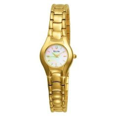 Bulova Women's 97L110 Bracelet Mother of Peal Dial Watch Bulova. $77.95. White MOP dial. Women's bracelet watch MOP dial. Curved mineral crystal with gilt metalized rim; Regate (faceted) hands. Water-resistant to 99 feet (30 M). Brass case and bracelet