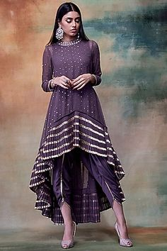 VVANI BY VANI VATS Charcoal Grey Embroidered Kurta With Dhoti Pants - VVANI BY VANI VATS Featuring a charcoal grey kurta in georgette and crepe base with sequins embroidery. It is paired with a matching dhoti pant. Source by perniaspopup - Indian Gowns, Indian Attire, Indian Outfits, Pakistani Dress Design, Pakistani Dresses, Western Dresses For Women, Kurti Designs Party Wear, Dress Designs, Kurta Designs Women