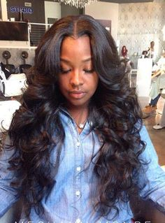 wavy weave hairstyles with side part - Google Search