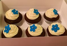 Yummy chocolate cupcakes topped with swirls of vanilla buttercream
