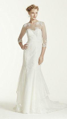 Beautiful Simple elegant long sleeves wedding dress for older bride