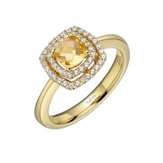 Jennifer Creel Personalized 14K Yellow Gold Note Ring with Diamonds 8PxIO