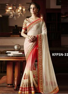 Buy Lycra With Padding Georgette Cream & Peach Replica Saree
