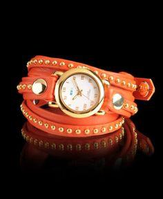 Orange wrap watch.