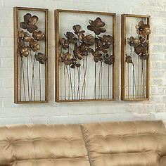 Grandin Road Three-piece Metal Flowers Art - x x Metal Flower Wall Art, Metal Flowers, Metal Wall Art, Flower Art, Iron Wall, Tuscan Wall Decor, Fabric Storage Ottoman, Storage Benches, Painting Shower