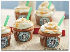 Starbuck salted caramel cupcakes - these are SO CUTE!!
